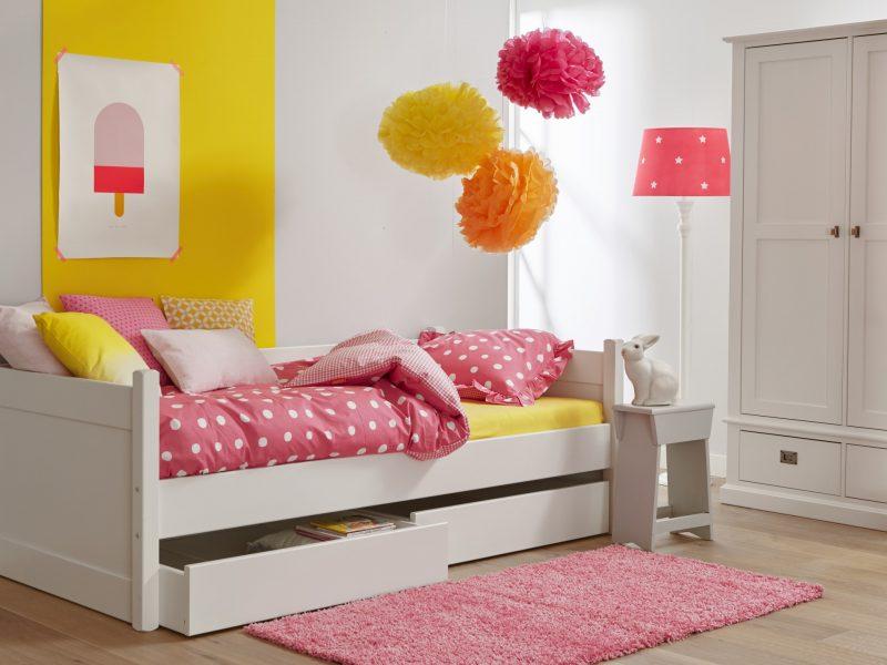 Kinderbed met opbergladen wit snow white wit ral 9016