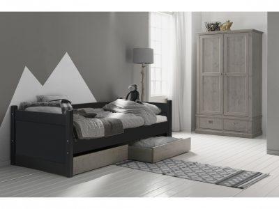 Alta bedbank met opbergladen antraciet tienerbed met lades steigerkleur
