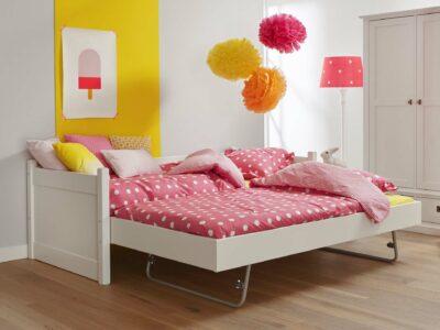 Alta bedbank met logeerbed matraslade jump up systeem snow white wit ral 9016