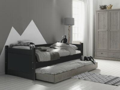 Bedbank met uitschuifbed antraciet/steigerkleur