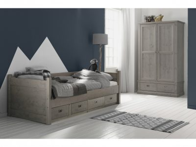 Alta kajuitbed steigerkleur stone grey bed met lades jongensbed steigerhout