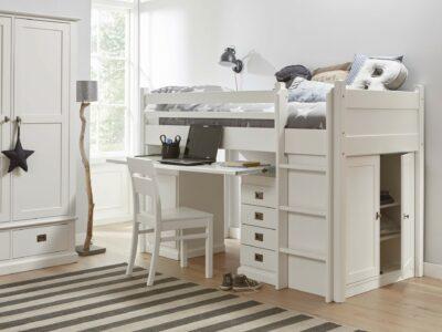 Wit bureaubed voor kleine kinderkamers