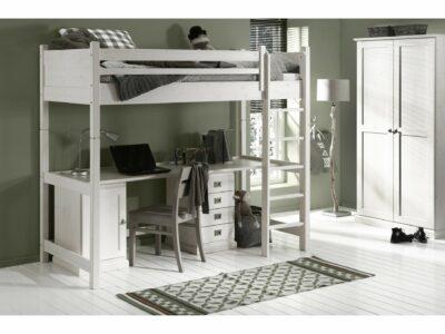 Witte hoogslaper met bureau
