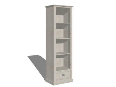 Smalle landelijke boekenkast White Wash