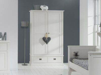White wash kledingkast met 2 deuren en 2 lades