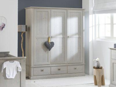 3-deurs kledingkast steigerhout voor kinderen