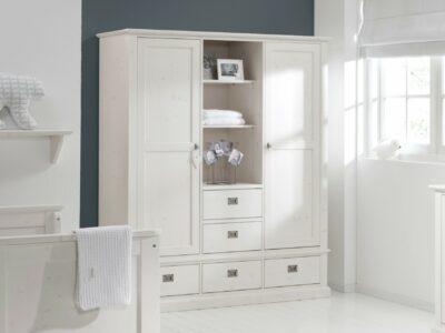 White wash kledingkast met lades
