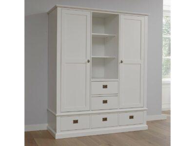 Witte kledingkast van massief hout