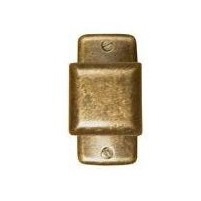 60 - Knob square bronze 24 mm, back plate