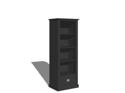 Smalle landelijke boekenkast zwart/antraciet