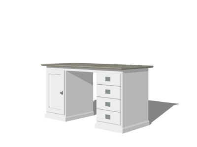Wit bureau met steigerkleur blad