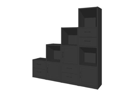 Vakkenkast/kastenwand zwart/antraciet