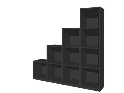 Vakkenkastenwand zwart/antraciet