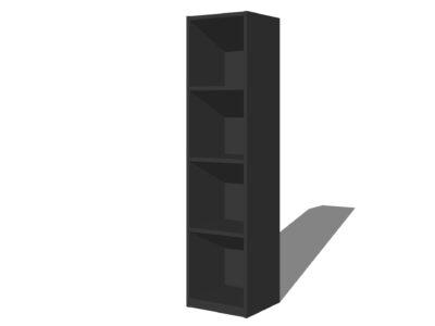 Vakkenkast 4 vakken Antraciet/zwart